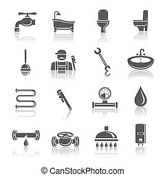 Plumbing tools pictograms set of shower bathroom toilet and...