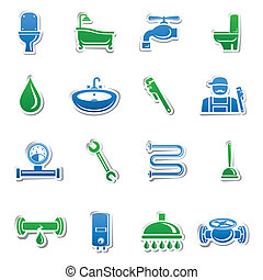 Plumbing tools sticker collection of plumber tools and pipes...