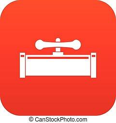 Plumbing valve icon digital red