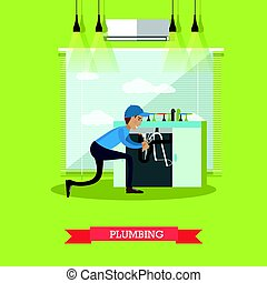 Plumbing vector illustration in flat style
