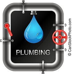 Plumbing with a water pipe symbol