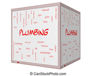 Plumbing Word Cloud Concept on a 3D cube Whiteboard