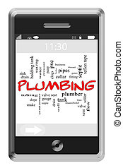 Plumbing Word Cloud Concept on Touchscreen Phone