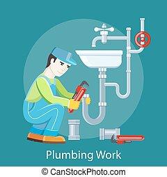 Plumbing Work Concept - Plumbing work. Sanitary works. ...