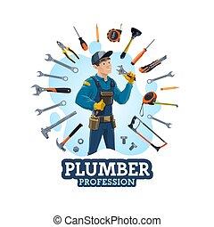 Plumbing work tools and man plumber profession