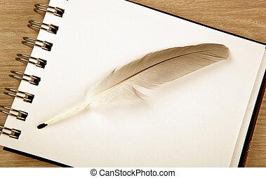 plume, blanc, stylo, oiseau, formulaire, cahier