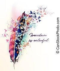 plume, coloré, mode, illustration, boho, oiseaux