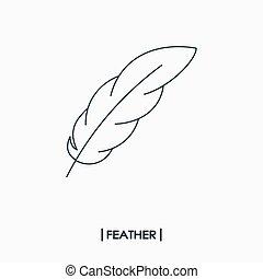 plume, contour, icône