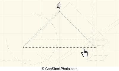 plume, dessin, généré digitalement, vidéo, stylo, triangle