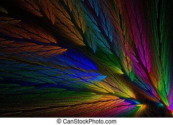 plume, fractal, coloré, perroquet