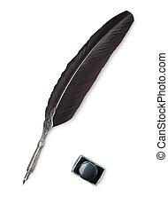 plume, penne, et, encrier