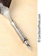 plume, penne, une, vieux, papier