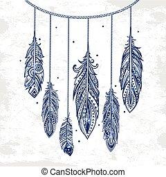 plume, style., ethnique, tribal, seamless., vendange, bohémien