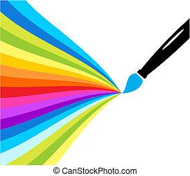 plume, stylo couleur, fontaine, écoulement