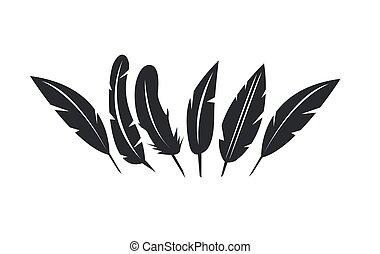 plume, vecteur, ensemble, icônes