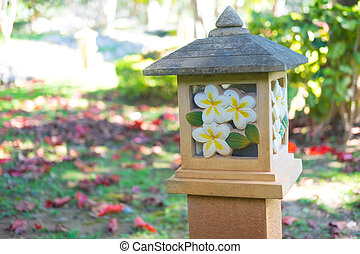 plumeria, bloem, gekerfde, steen