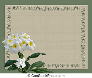Image and illustration composition of Plumeria flowers on crackled textured background for wedding invitation border, formal announcement or greeting card with copy space