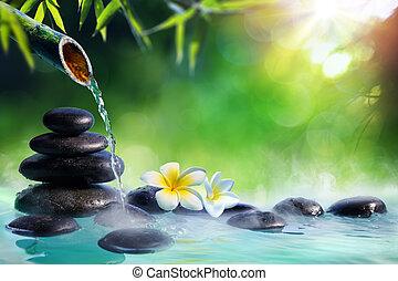 plumeria, flores, em, japoneses, chafariz, com, massagem, pedras, e, bambu, -, jardim zen