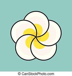 plumeria flower, filled outline icon
