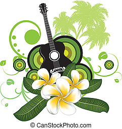 Plumeria flowers and guitar