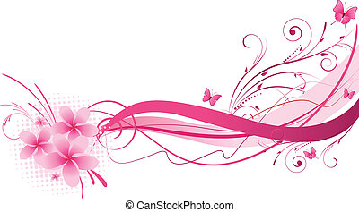 Plumeria pink florals design - Plumeria flowers with wave...