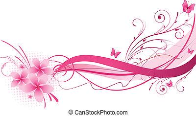 Plumeria pink florals design - Plumeria flowers with wave...