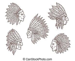 plumes, américain, indien natif, chefs