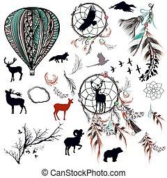 plumes, arbres, vecteur, collection, animals.eps, dreamcatchers