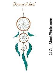 plumes, perles, indiens américains, blanc, preneur, style, rêve, arrière-plan., boho, amulet.