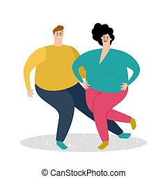 Plump dancing couple vector illustration. Fat man and fat...