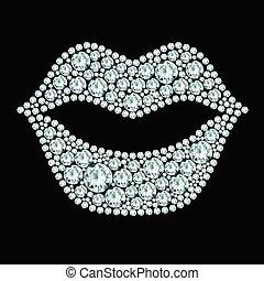 Plump lips made of diamonds.