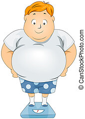 Plump Man on Weighing Scale with Clipping Path