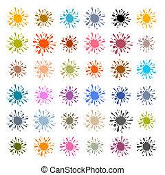 plump, sätta, färgrik, plaska, -, illustration, vektor, fläck