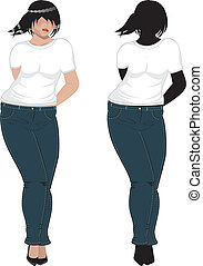 Plump Woman in White T Shirt