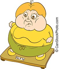 Plump Woman on Weighing Scale