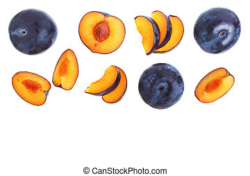 plums isolated on a white background with copy space for your text. Top view. Flat lay pattern