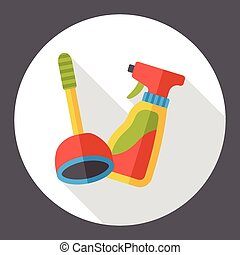 plunger and detergent flat icon