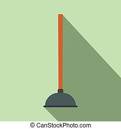 Plunger flat icon with shadow