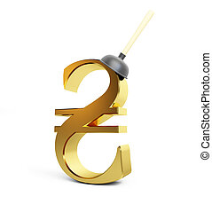 plunger hryvnia sign on a white background