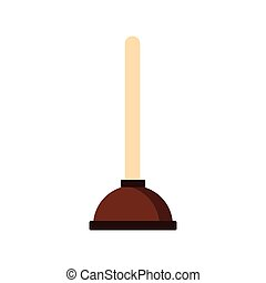 Plunger icon, flat style