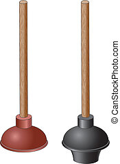 Plunger - Illustration of two types of plungers. One is red...