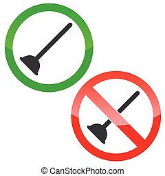 Plunger permission signs set