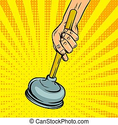 Plunger pop art style vector illustration