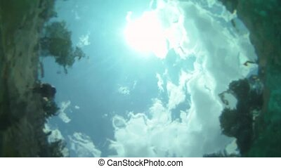 Man plunging in the water, from above. 720p GoPro HD.