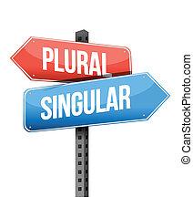 plural, singular road sign illustration design over a white...