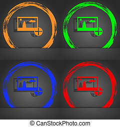 Plus, add File JPG sign icon. Download image file symbol. Fashionable modern style. In the orange, green, blue, red design.