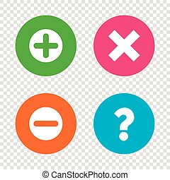 Plus and minus icons. Question FAQ symbol. - Plus and minus...