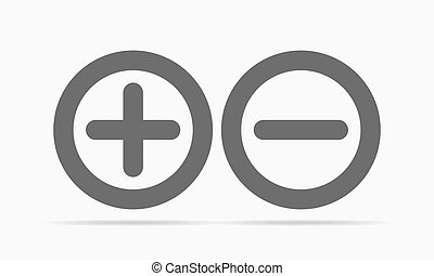 Plus and minus round icons. Vector illustration