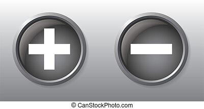 Plus and minus sign gray buttons