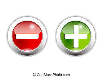plus an minus signs on green and red buttons